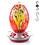 Muse Garden Hummingbird Feeder for Outdoors, Hand Blown Glass, 25 Ounces, Containing Ant Moat,...