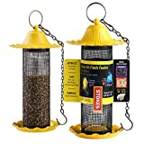 Finch Bird Feeders For Outside [Set of 2] 0.5 LB Capacity Yellow Wild Bird Feeders, Seeds Attracts...