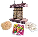 Mac's Suet Wild Bird Feeder, All Natural Wood, Made in The USA - Includes Nesting Material and Suet...