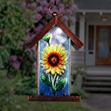 Exhart Solar Sunflower Glass Panel Hanging Bird Feeder, 8 by 14.5 Inches