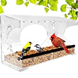 Nature Gear XL Window Bird Feeder - Extended Roof - Steel Perch - Sliding Feed Tray Drains Water -...