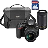 Nikon D3500 DSLR Camera with AF-P 18-55mm and 70-300mm Zoom Lens + 32GB Card + Accessory Bundle
