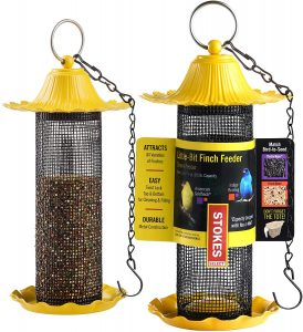 Stokes Yellow Wild Bird Tube Feeders Bundled With SEWANTA Hanging Chains Twin Pack
